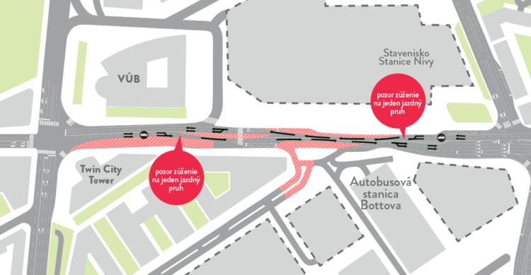Mlynské nivy – zmena organizácie dopravy od 14.1.